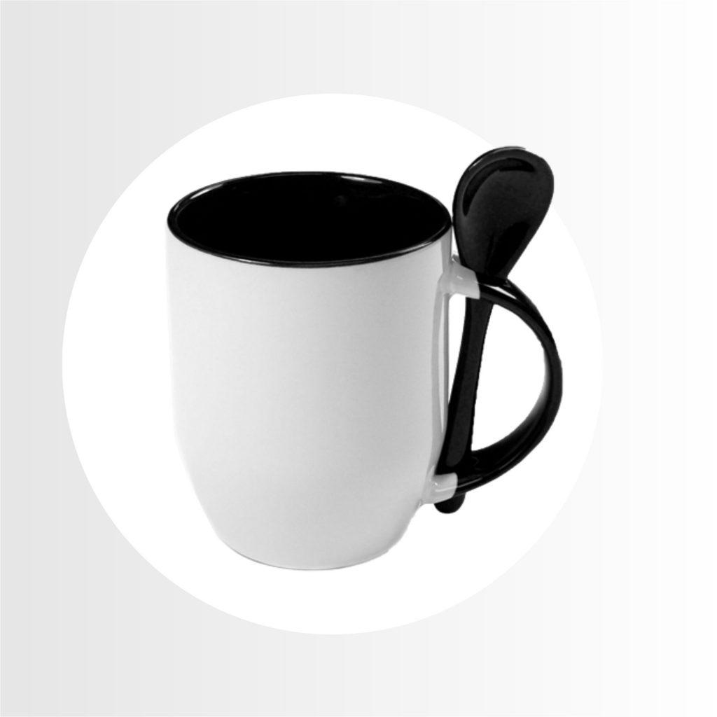 taza color interior con cucharita-Precio 8.90